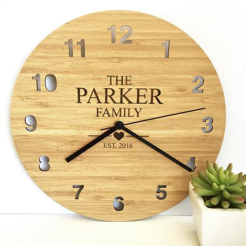 The Family Personalised Bamboo Clock - Lil Sunshine Collections