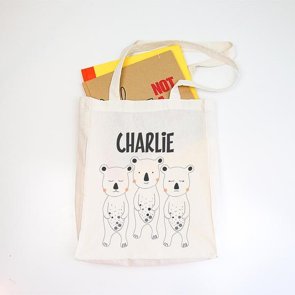 Three Bears Personalised Library Tote Bag - Lil Sunshine Collections