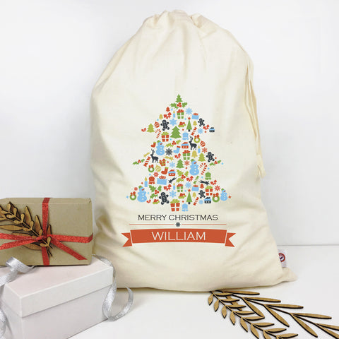Tree Collage Personalised Santa Sack - Lil Sunshine Collections