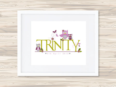 Girls' Personalised Name Birth Date Print - Trinity - Lil Sunshine Collections