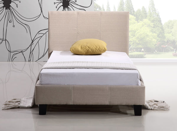 Single Linen Fabric Bed Frame Beige - Lil Sunshine Collections