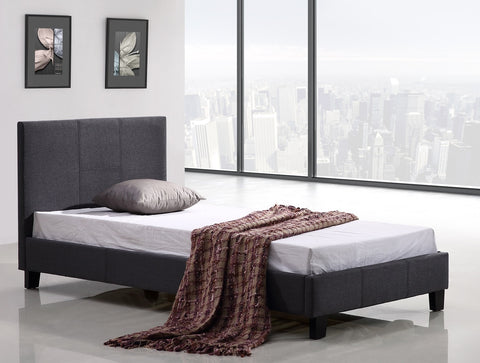 Single Linen Fabric Bed Frame Grey