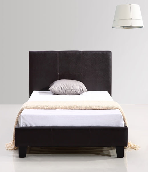 Single PU Leather Bed Frame Brown - Lil Sunshine Collections