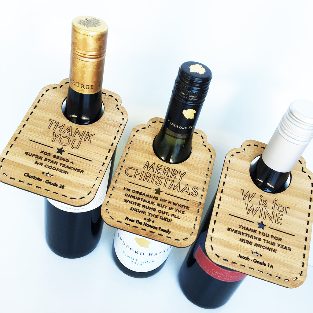 Personalised Bamboo Wine Bottle Tags - Lil Sunshine Collections