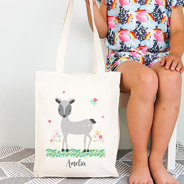 Woodland Deer Personalised Library Tote Bag - Lil Sunshine Collections