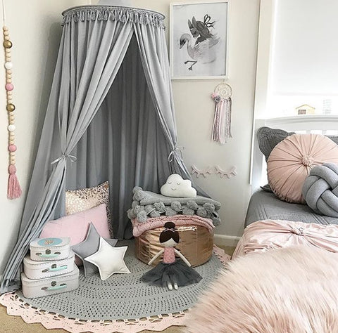 Grey Round Canopy - Lil Sunshine Collections