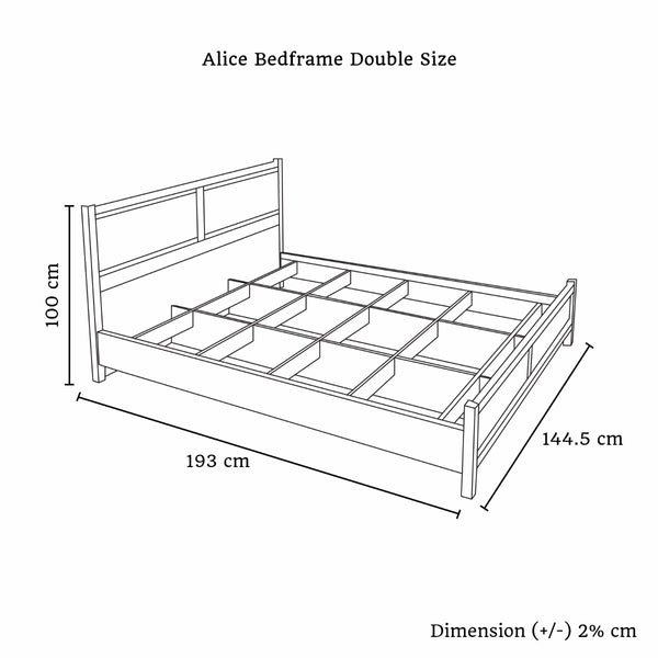 Alice Bed Double White Ash Color - Lil Sunshine Collections