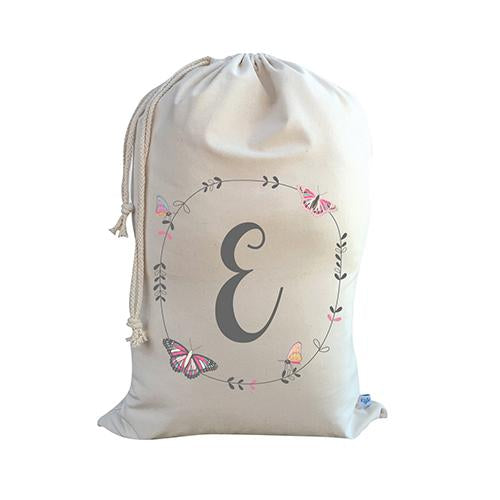 Butterfly Floral Wreath Girls Personalised Storage Sack - Lil Sunshine Collections
