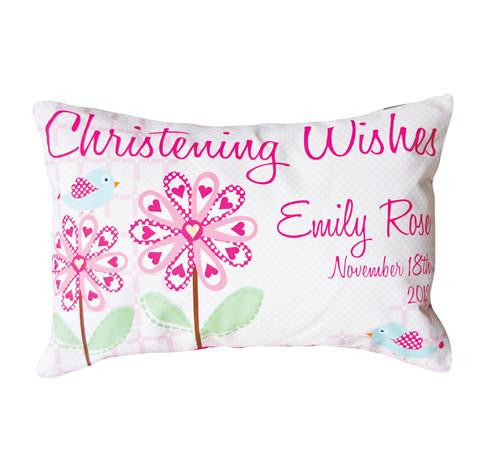 Pretty Flower Christening or Baptism Personalised Cushion - Lil Sunshine Collections