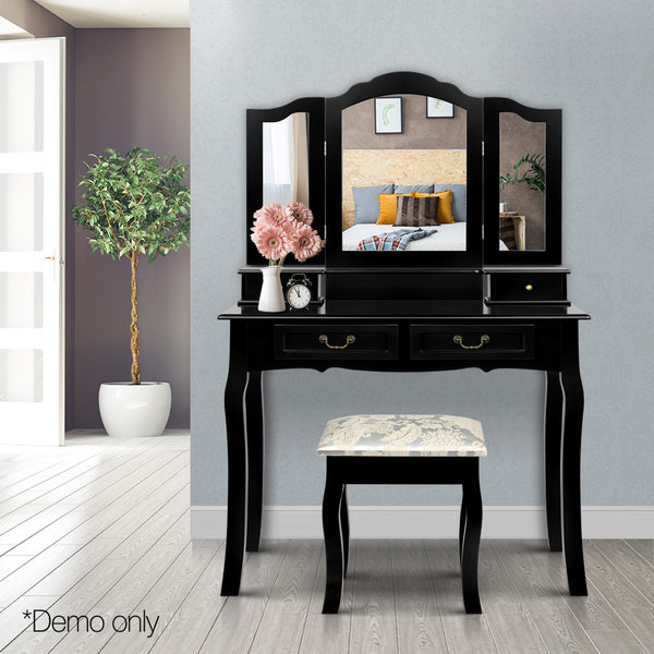 4 Drawer Dressing Table with Mirror - Black - Lil Sunshine Collections