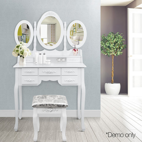 7 Drawer Dressing Table w/ Mirror White - Lil Sunshine Collections