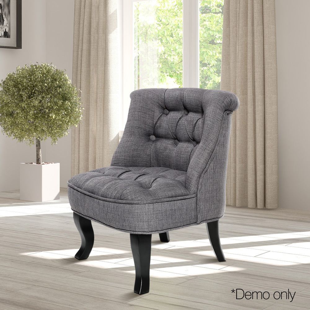 Lorraine Chair French Provincial Kid Fabric Sofa Misty Grey - Lil Sunshine Collections
