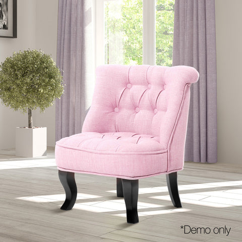 Lorraine Chair French Provincial Kid Fabric Sofa Pastel Pink - Lil Sunshine Collections