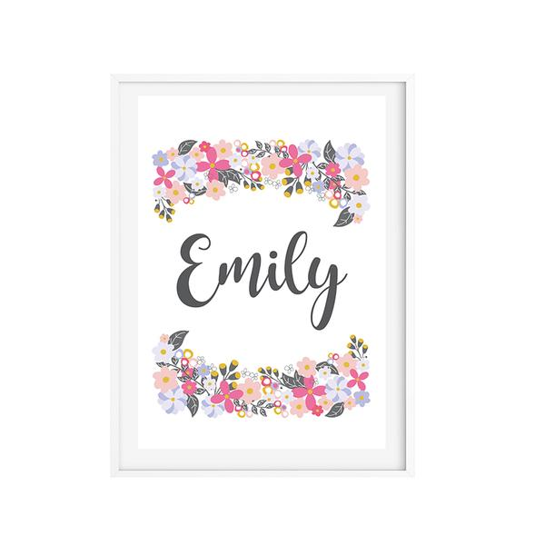 Floral Wonderland Girls Personalised Wall Art Print - Lil Sunshine Collections