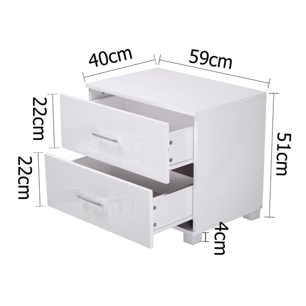 High Gloss Two Drawers Bedside Table White - Lil Sunshine Collections