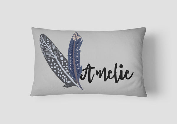 Girls' Feathers Personalised Cushion - Lil Sunshine Collections