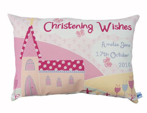 Girls Christening or Baptism Personalised Cushion - Lil Sunshine Collections