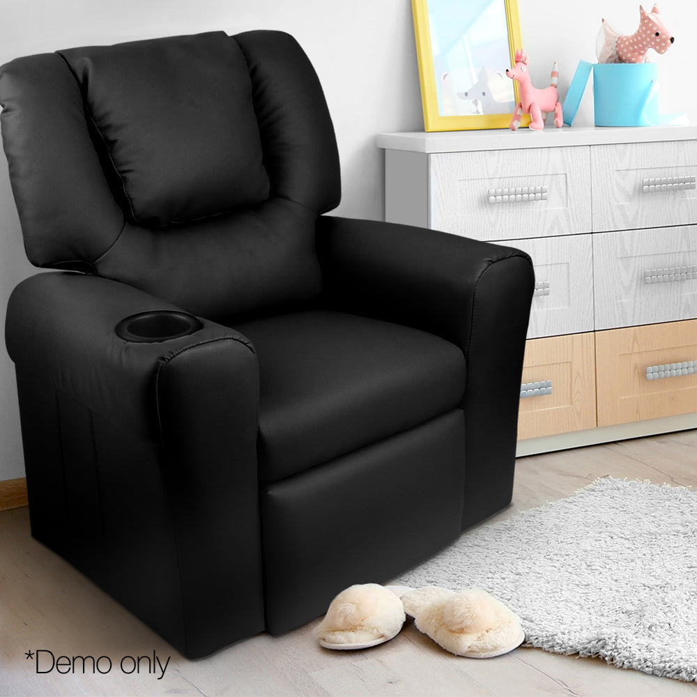 Kids Padded PU Leather Recliner Chair  - Black - Lil Sunshine Collections