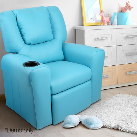 Kids Padded PU Leather Recliner Chair  - Blue - Lil Sunshine Collections
