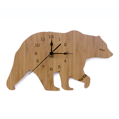 Bear Bamboo Wall Clock - Lil Sunshine Collections