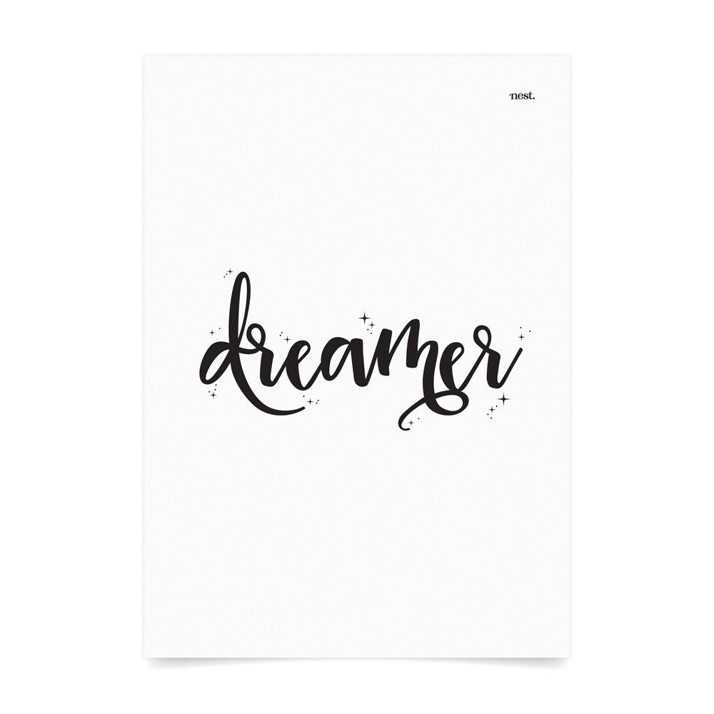 Dreamer White Wall Print - Lil Sunshine Collections