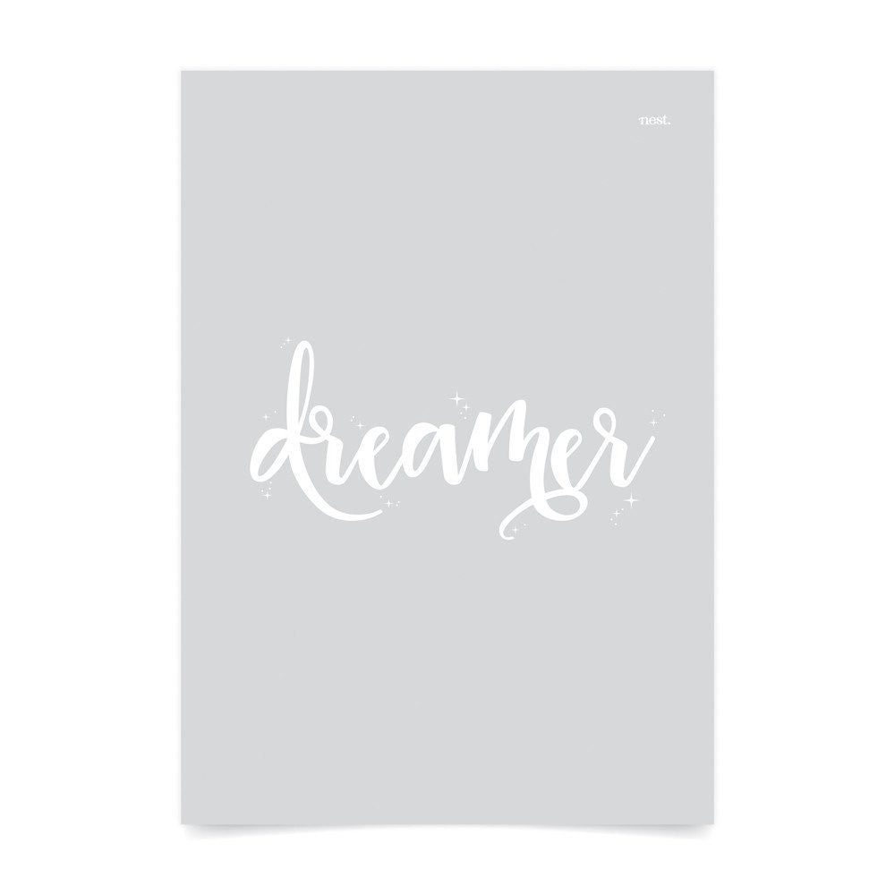 Dreamer Grey Wall Print - Lil Sunshine Collections