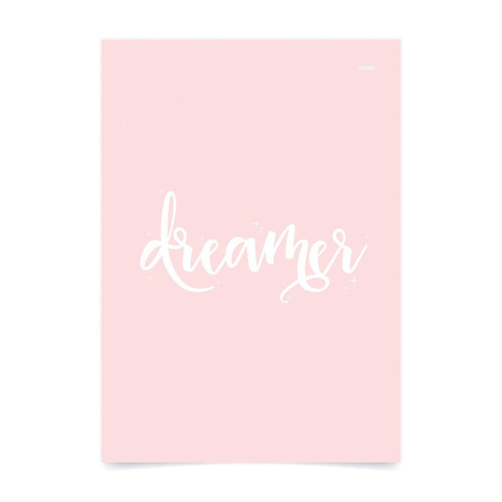 Dreamer Pink Wall Print - Lil Sunshine Collections