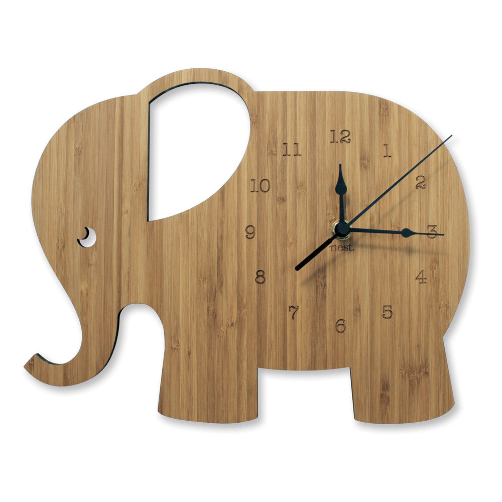 Elephant Wooden Wall Clock - Lil Sunshine Collections