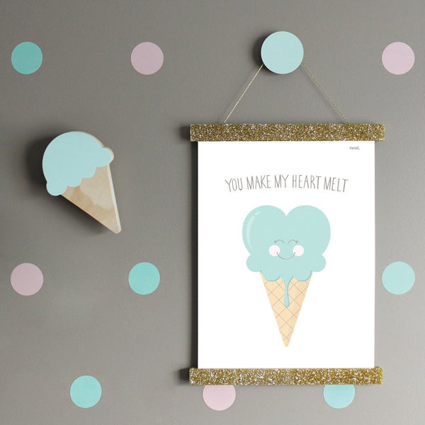 You Make My Heart Melt Mint Wall Print - Lil Sunshine Collections