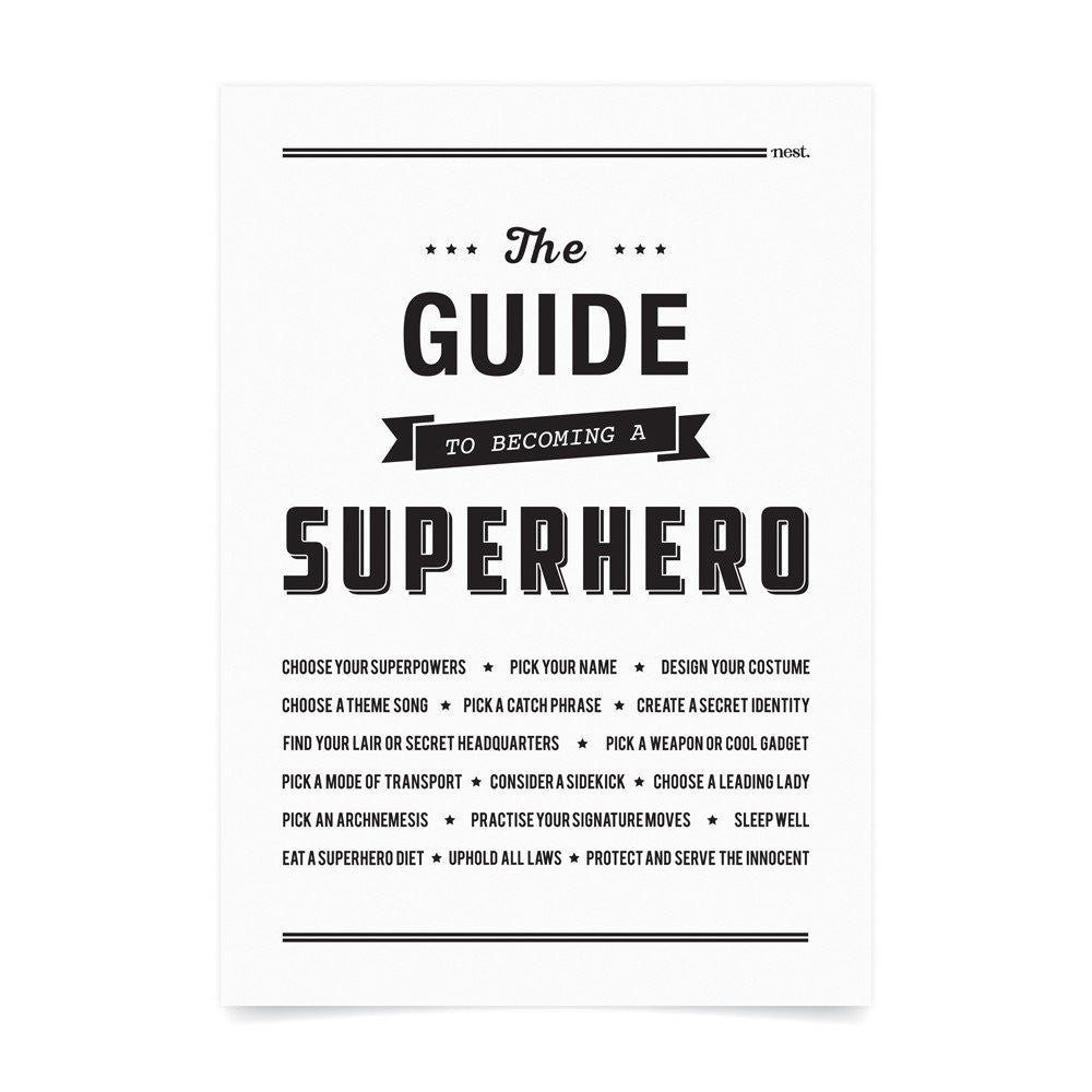 The Guide to Becoming A Superhero Wall Print - Lil Sunshine Collections