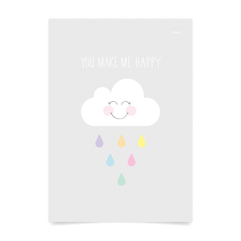 You Make Me Happy Grey Wall Print - Lil Sunshine Collections