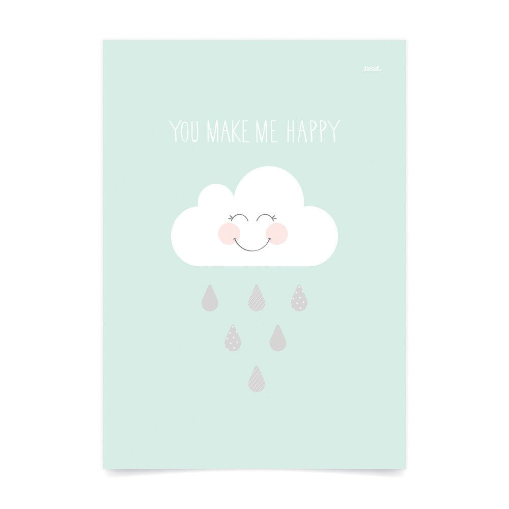 You Make Me Happy Mint Wall Print - Lil Sunshine Collections