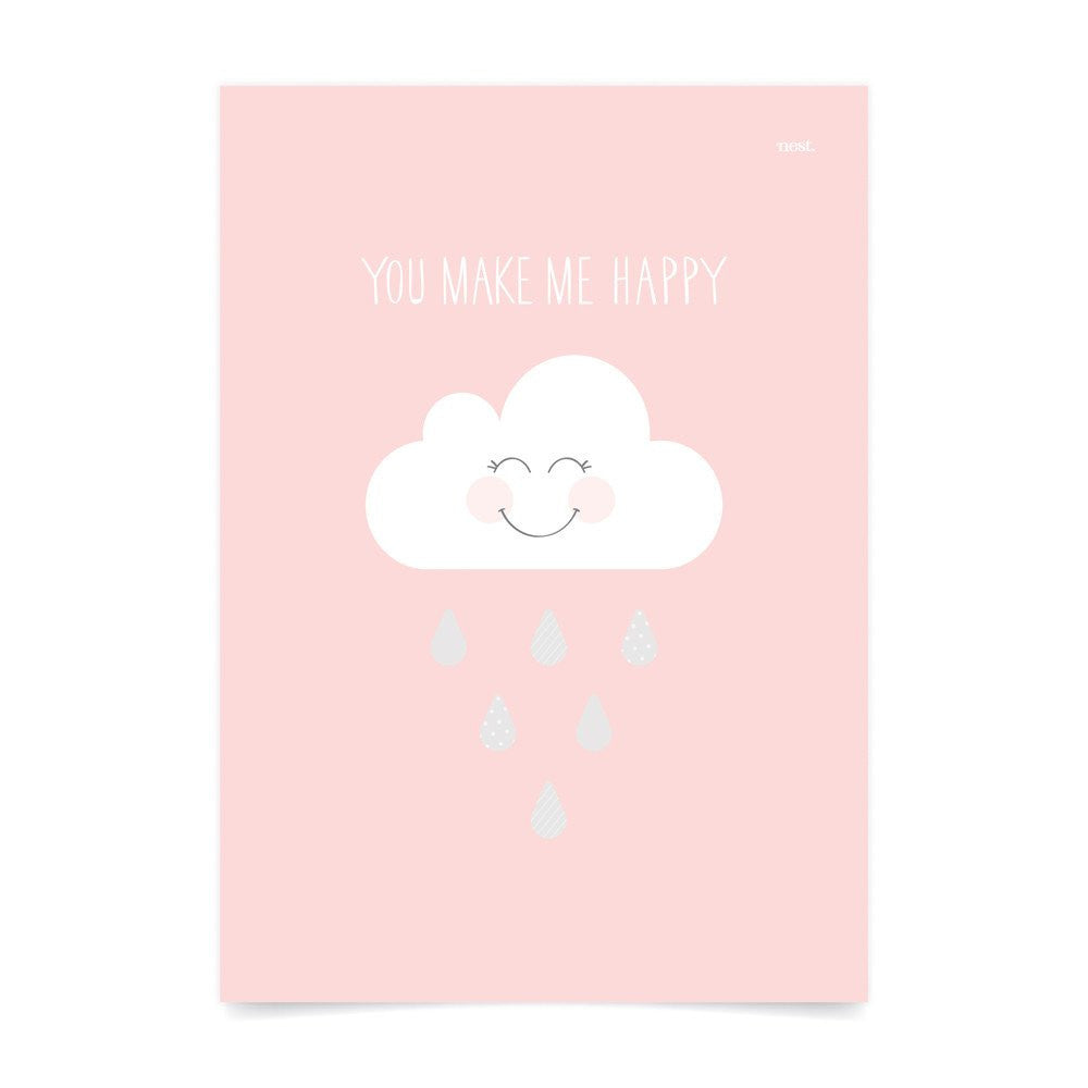 You Make Me Happy Pink Wall Print - Lil Sunshine Collections