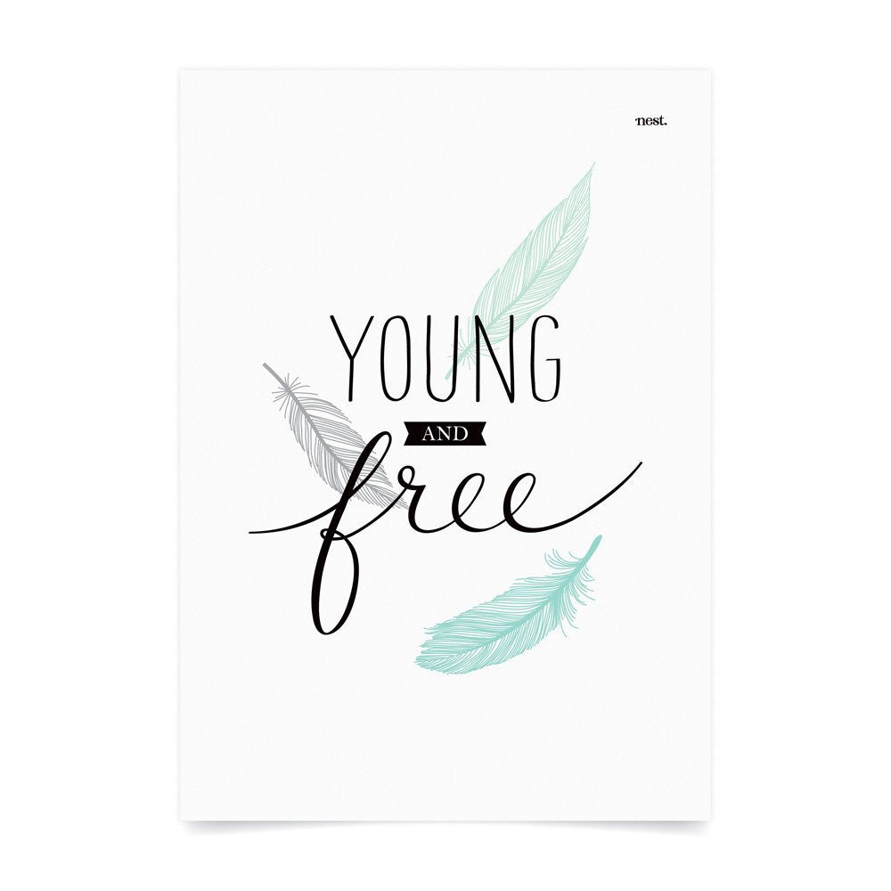 Young and Free Mint Wall Print - Lil Sunshine Collections