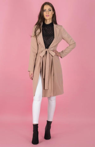 Collared Longline Jacket With Splits - Lil Sunshine Collections