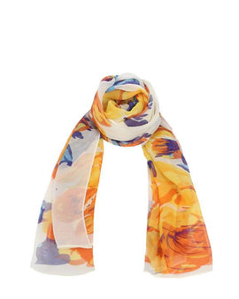 "Long Pure Silk Chiffon Scarf L68"" x W22"""