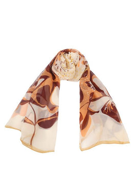 "Long Pure Silk Chiffon Scarf L69"" x W21"""