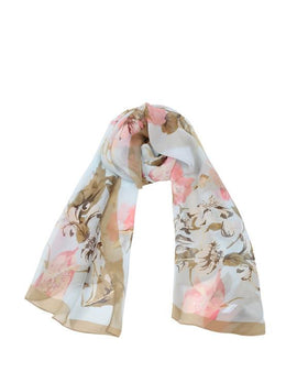 "Long Pure Silk Chiffon Scarf L66"" x W22"""