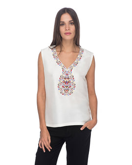 SCT020 - Hand Embroidered Silk Blouse