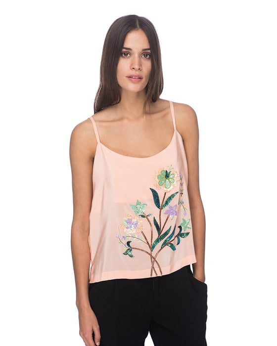 SCT030 - Hand Embroidered Silk Tank Top
