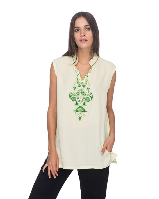 SCT060 - Hand Embroidered Silk Tunic