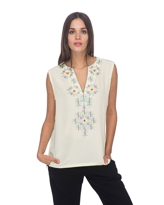 SCT061 - Hand Embroidered Silk Tunic