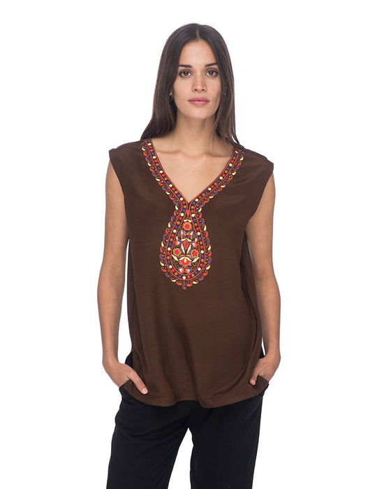 SCT064 - Hand Embroidered Silk Tunic