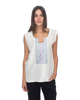 SCT069 - Hand Embroidered Short Silk Tunic