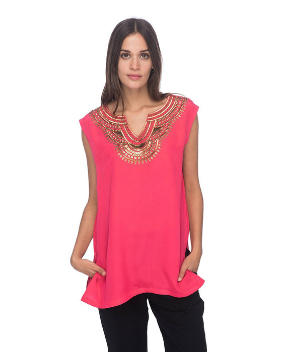 SCT070 - Hand Embroidered Short Silk Tunic
