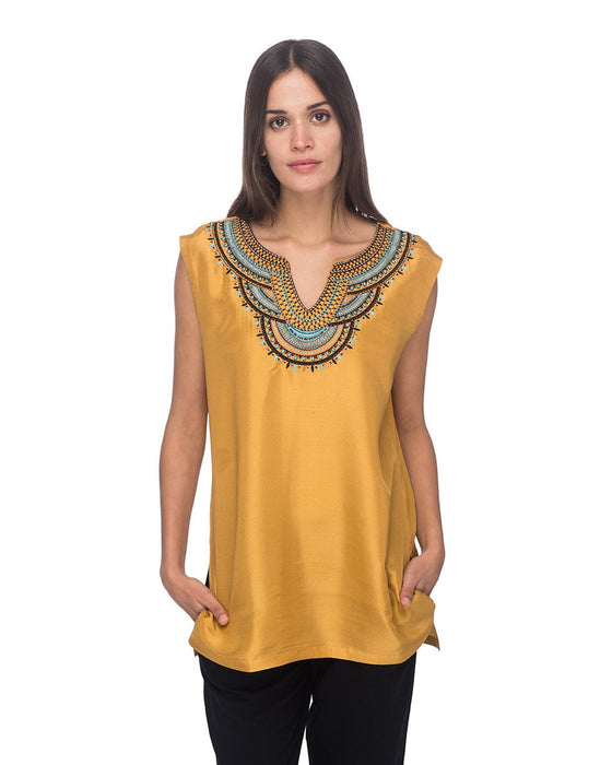 SCT071 - Hand Embroidered Short Silk Tunic