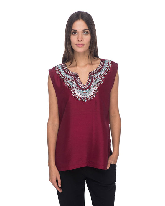 SCT072 - Hand Embroidered Short Silk Tunic