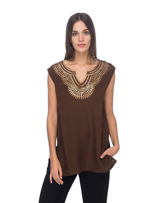 SCT073 - Hand Embroidered Short Silk Tunic