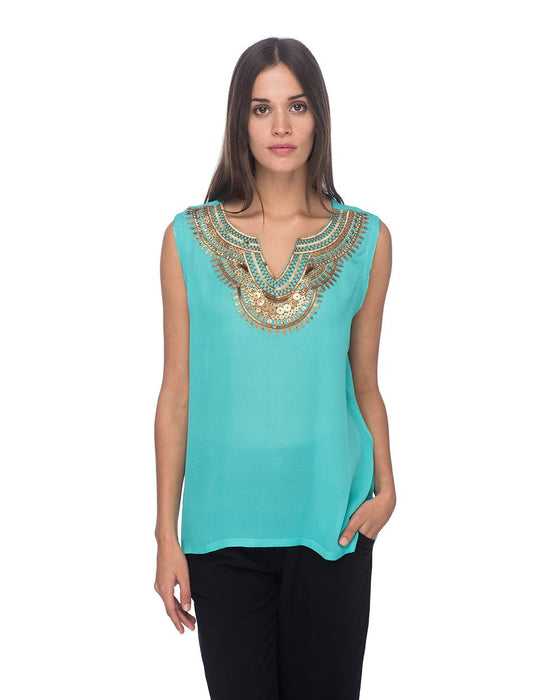 SCT074 - Hand Embroidered Short Silk Tunic