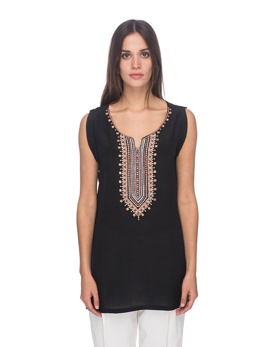 SCT082 - Hand Embroidered Short Silk Tunic